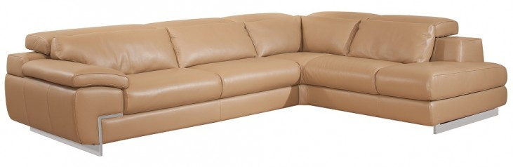 Oregon II Mouton Italian Leather RAF Chaise Sectional