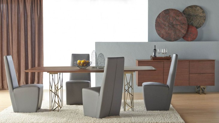 Cleo Dark Walnut Oro Dining Room Set with Ritz Tobi Dining Chairs
