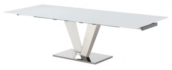 Otello White Glass Extendable Rectangular Dining Table