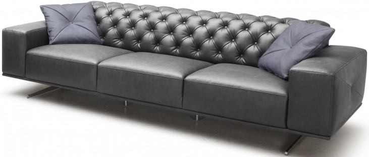 Othello Black Italian Leather Sofa