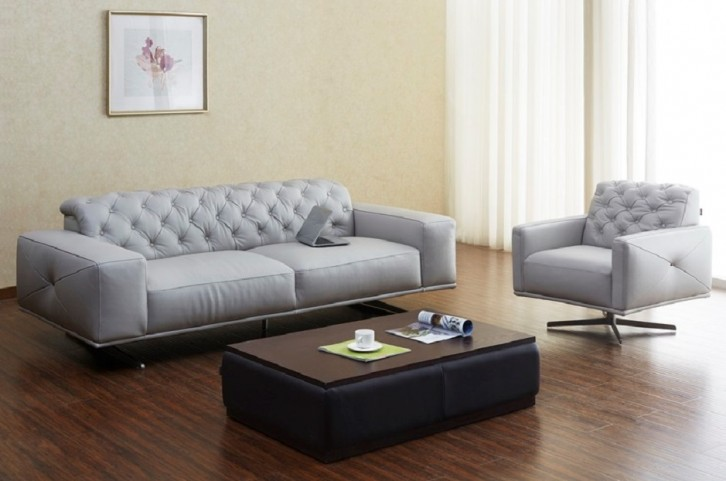 Othello Light Grey Italian Leather Living Room Set