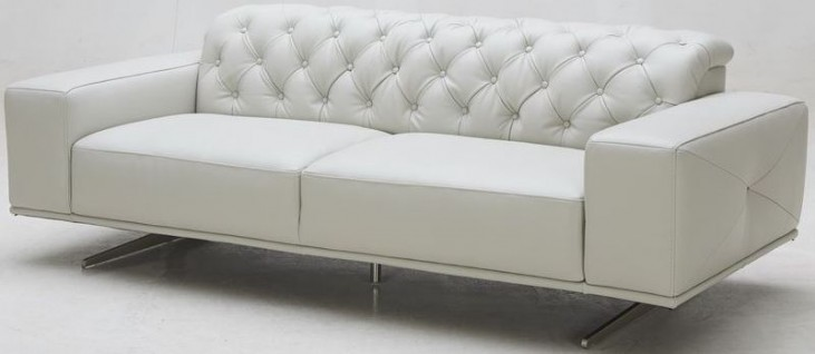 Othello Light Grey Italian Leather Sofa