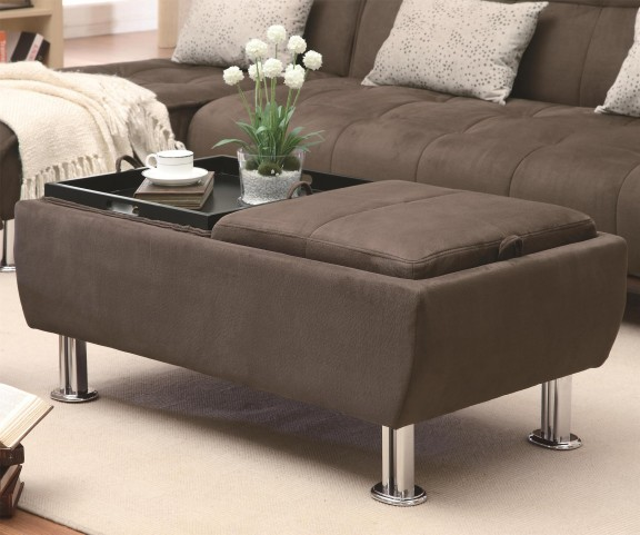 300278 Cocktail Ottoman with Flip Over Serving Trays