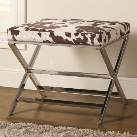 500118 Cow Print Ottoman with Chrome Base