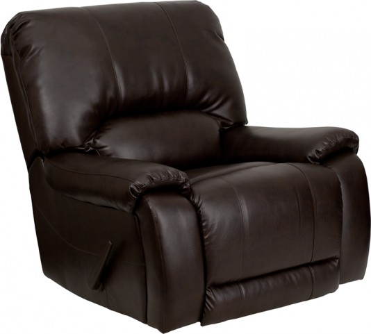 OverStuffed Brown Leather Lever Rocker Recliner