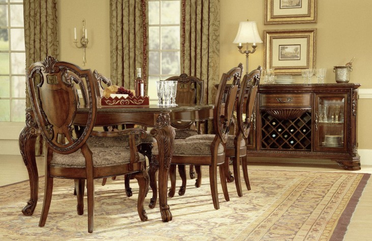 old world extendable dining room set from art 143220 2606