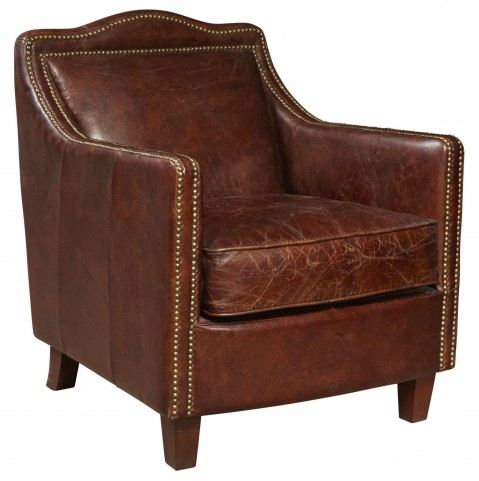 Danielle Brown Leather Accent Chair
