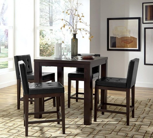 Athena Dark Chocolate Counter Square Dining Room Set