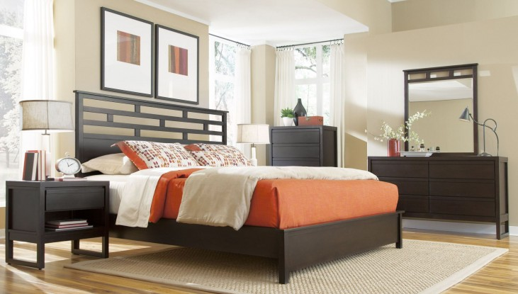 Athena Dark Chocolate Panel Bedroom Set