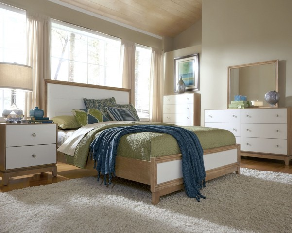 Hashtag Fun White Glaze Upholstered Bedroom Set