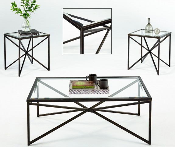 Belcourt Matte Black 3 Piece Occasional Table Set