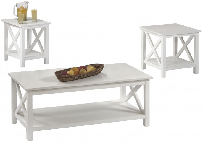 Seascape I Textured White 3 Piece Occasional Table Set