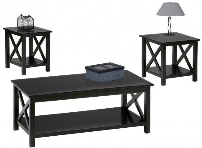 Seascape II Textured Black 3 Piece Occasional Table Set