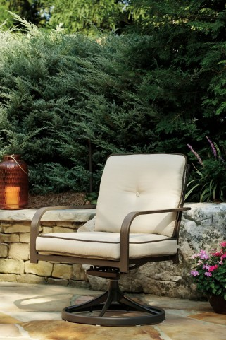 Predmore Beige and Brown Outdoor Swivel Lounge Chair Set of 2
