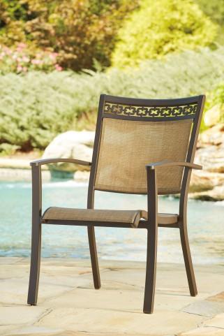 Carmadelia Tan and Brown Sling Chair Set of 4