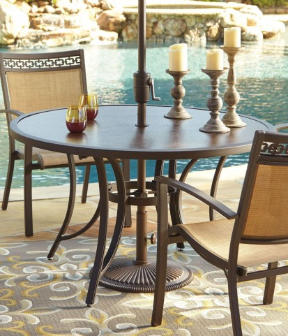 Carmadelia Tan and Brown Round Dining Table