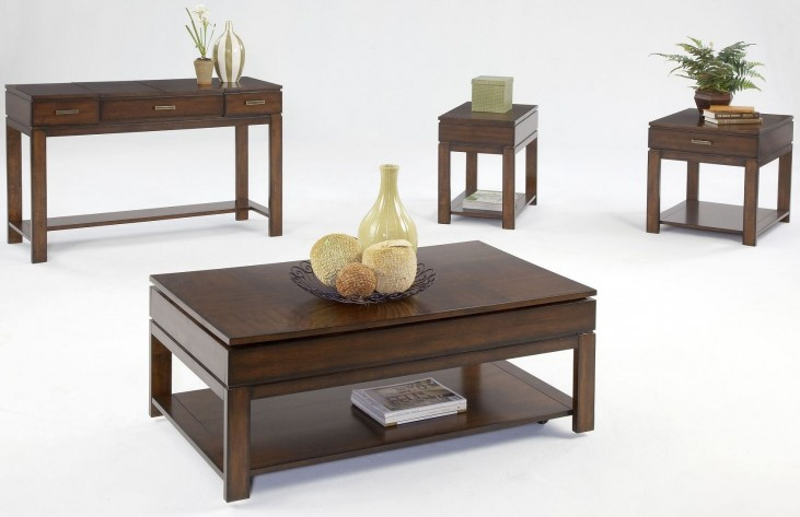 Miramar Cherry Veneer Sliding-Top Occasional Table Set