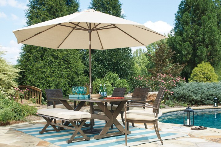 Moresdale Brown Outdoor Rectangular Dining Room Set