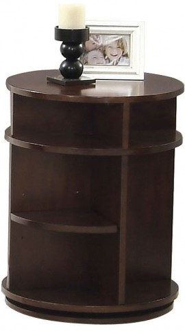 Metropolian Dark Cherry & Birch Swivel Chairside Table