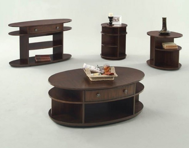 Metropolian Dark Cherry and Birch Occasional Table Set