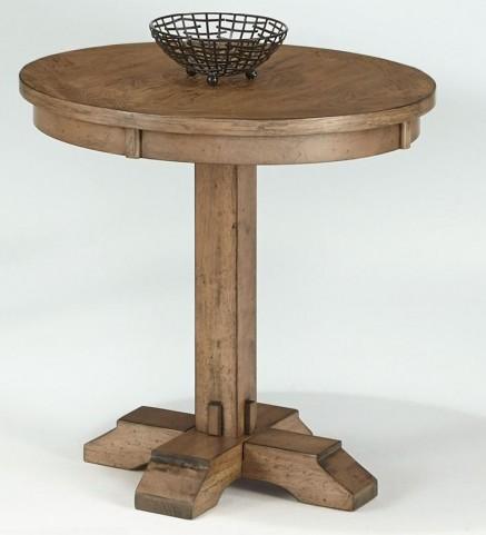 Boulder Creek Antique Pecan Round Pedestal Accent Table