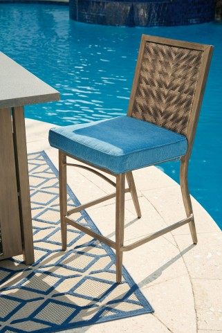 Partanna Blue and Beige Outdoor Barstool Set of 4