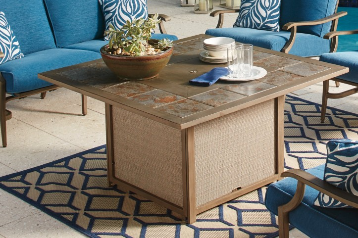 Partanna Blue and Beige Square Fire Pit Table