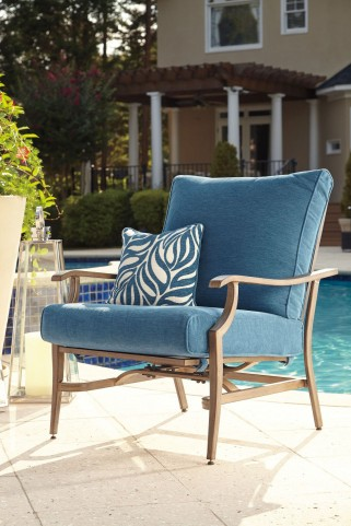 Partanna Blue and Beige Outdoor Motion Lounge Chair Set of 2