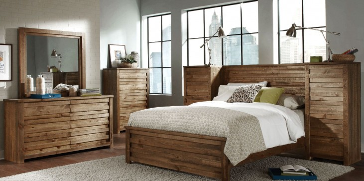 Melrose Driftwood Panel Bedroom Set