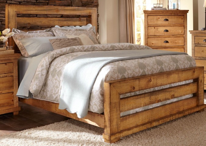 Willow Distressed Pine King Slat Bed