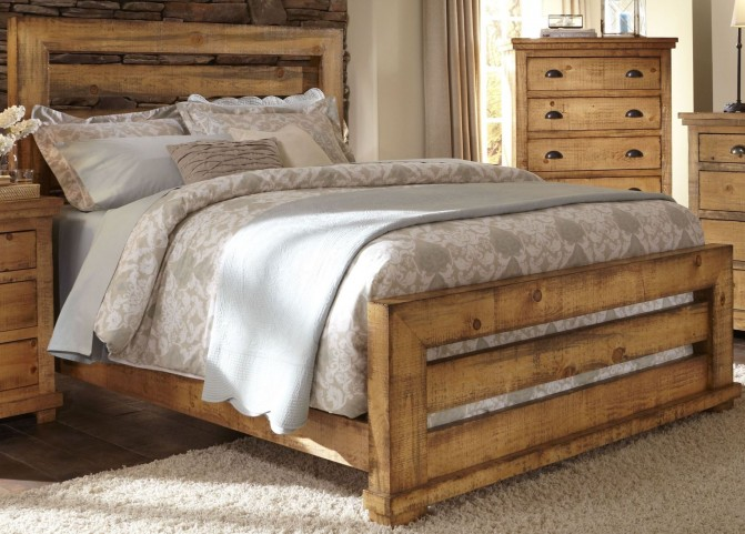 Willow Distressed Pine King Upholstered Bed