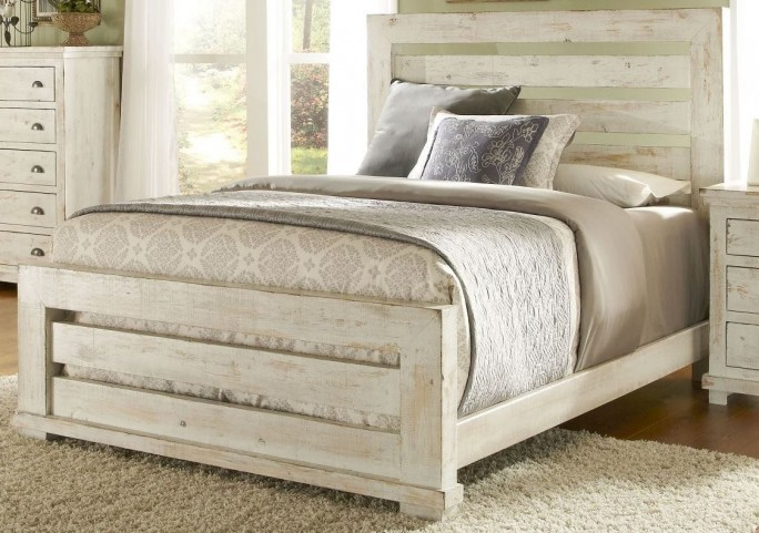 Willow Distressed White King Slat Bed