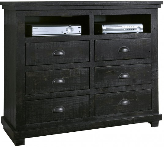 Willow Distressed Black Media Chest