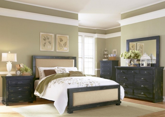Willow Distressed Black Upholstered Bedroom Set