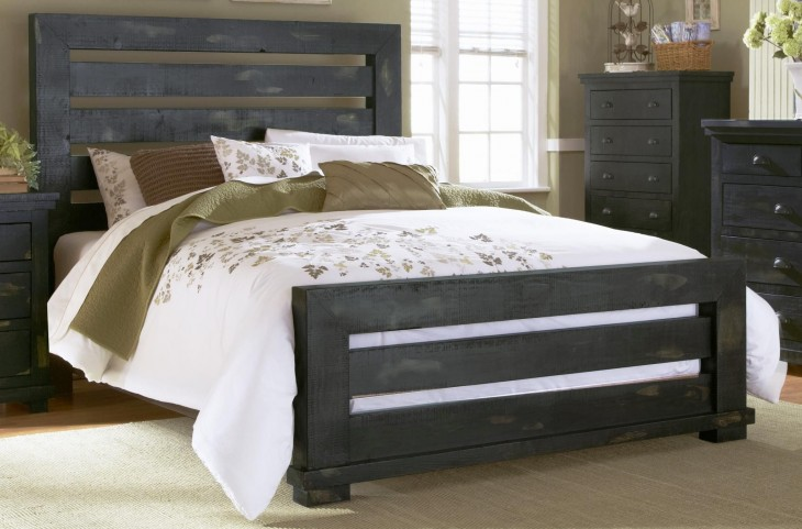 Willow Distressed Black Queen Slat Bed