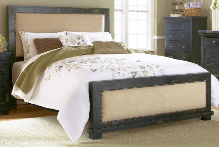 Willow Distressed Black King Upholstered Bed