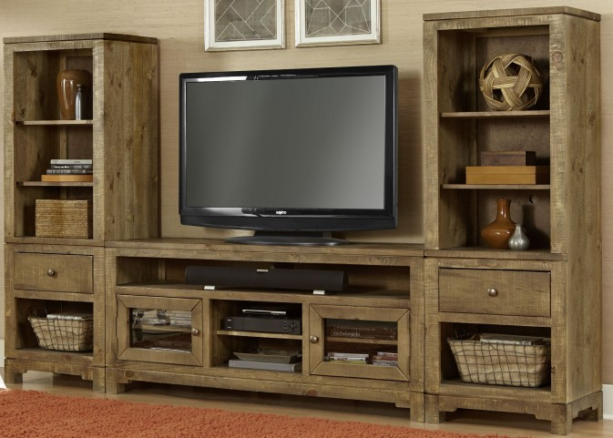 "Braxton Gate Driftwood Entertainment Wall with 64"" Console"