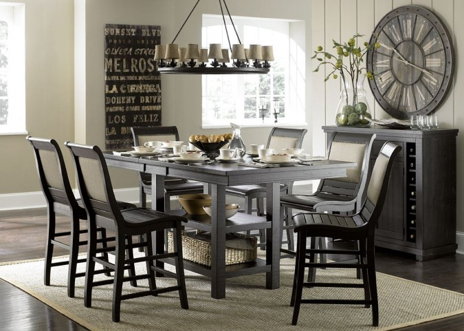 Willow Distressed Black Rectangular Counter Height Dining Room Set