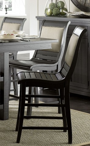Willow Distressed Black Counter Upholstered Chair Set of 2
