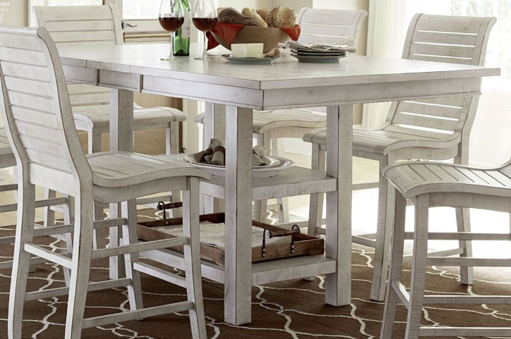 Willow Distressed White Rectangular Counter Height Dining