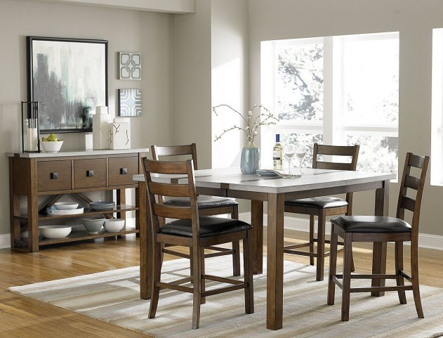 Cascade Nutmeg and Cement Counter Height Dining Room Set
