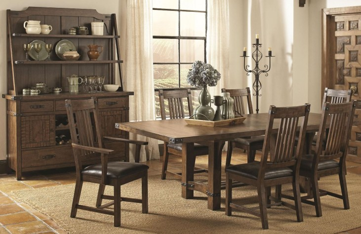 Padima Rustic Rough-Sawn Rectangular Extendable Dining Room Set