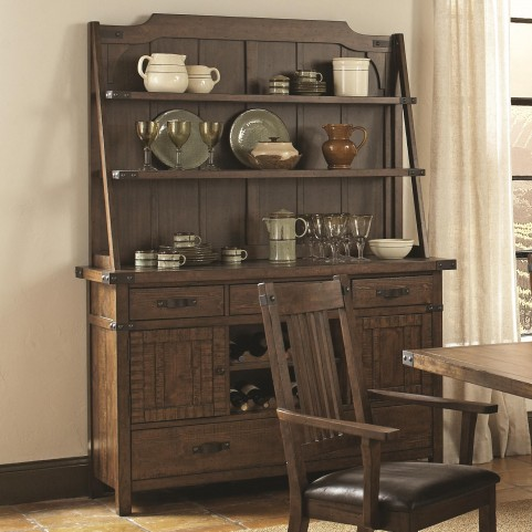 Padima Rustic Rough-Sawn Buffet with Hutch