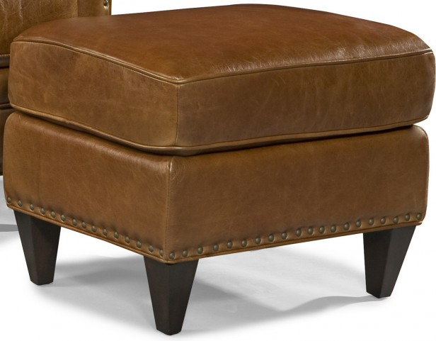 Logan Trends Coffee Leather Ottoman