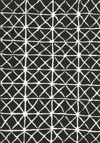"""Palette Black White Grid 94"""" Rug"""