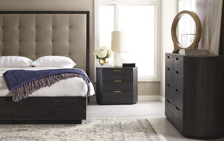 Palmer Mink Upholstered Platform Bedroom Set Plm  Brownstone