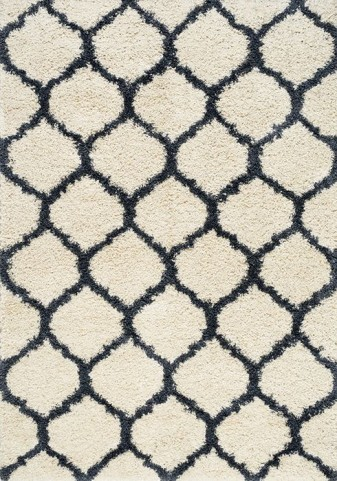 Parisian Blue and Cream Ogee Shag Large Rug