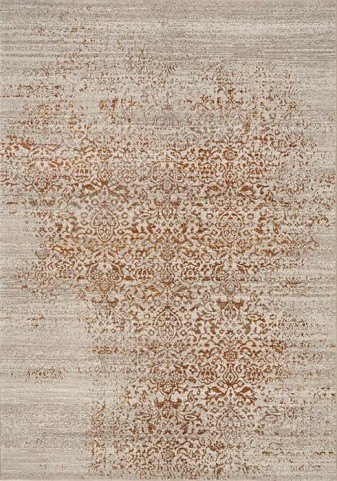 Parlour Grey and Orange Distressed Large Rug