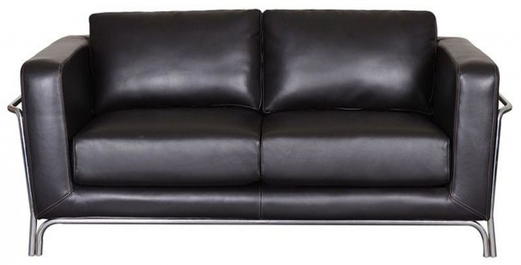 Perch Black Leather Loveseat