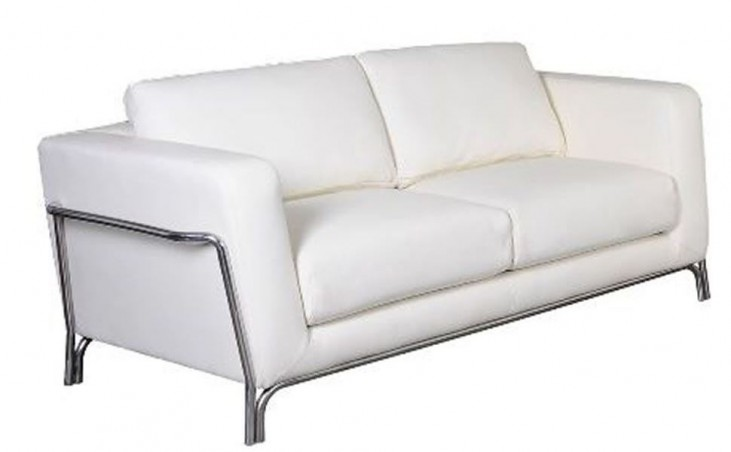 Perch White Leather Loveseat